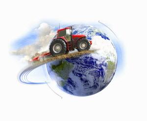 Tractor circling globe