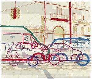 Traffic jam on urban street