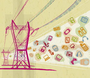 Digital technology devices and symbols below electricity pylons carrying binary code wires