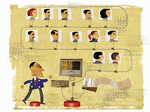 Faces of men and women connected to businessman networking on computer
