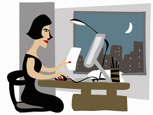 Woman working overtime in office late at night