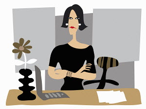 Portrait of annoyed businesswoman with arms crossed at desk