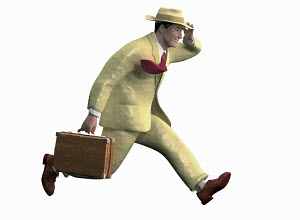 Happy businessman hurrying holding hat