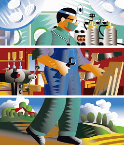 Split image of doctor, carpenter and farmer