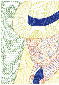 Obscured face of man wearing panama hat