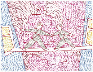 Two men bridging the gap between tall buildings and shaking hands