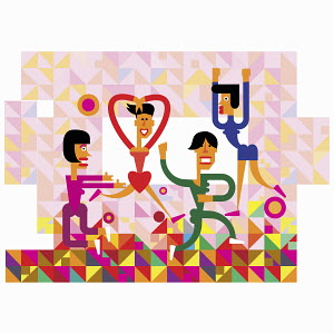 Fun illustration of women dancing in geometric pattern