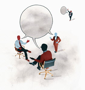 Businessmen discussing in connected speech bubble and ignoring separate businessman
