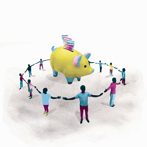 People forming circle protecting piggy bank