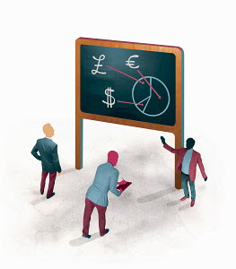Businessman explaining international currency pie chart on blackboard to businessmen