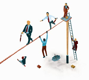 Business people crossing tightrope with different methods