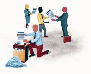 Business people giving, receiving, reading and shredding documents