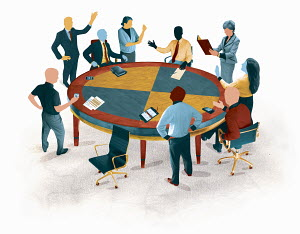 Business people arguing in meeting around conference room table