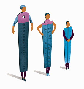 Business people rulers standing in hierarchy order