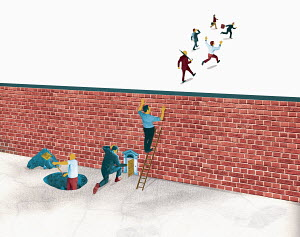 Businessmen trapped behind brick wall while co-workers escape