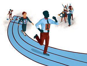 Colleagues cheering business people in running race with businessman at disadvantage in broken starting block