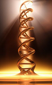 Golden dna double helix in spotlight