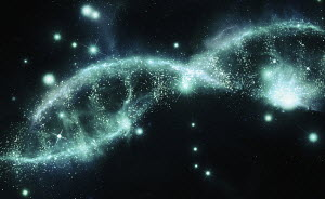 Sparkling dna double helix of stars in night sky