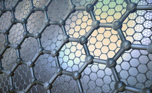 Close up hexagonal grid pattern of molecular structure of graphene