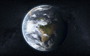South America on planet earth from outer space