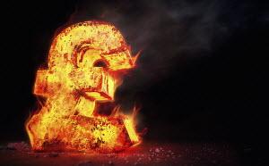 Red hot burning metal pound sign