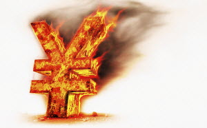 Red hot burning metal yen sign