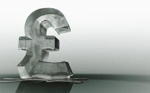 Melting frozen British pound sign