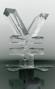 Melting frozen yen sign