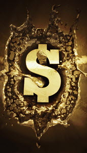Gold dollar sign splashing in molten metal