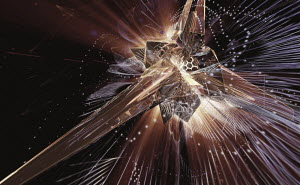 Complex abstract of exploding light and metallic mesh