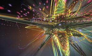 Abstract multicolored three dimensional metallic mesh star shape