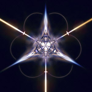 Abstract shiny three dimensional geometric star shape