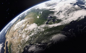 Digitally manipulated image of the Great Lakes from space