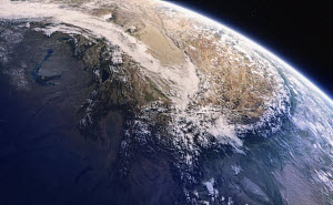 Digitally manipulated image of the Himalayas from space