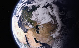 Digitally manipulated image from space of the Caspian Sea between Europe and Asia