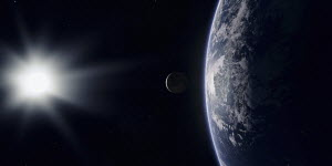 Digitally manipulated image from space of sun shining on earth and moon