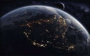Digitally manipulated image of North America from space at night