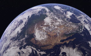 Digitally manipulated image of Western North America from space