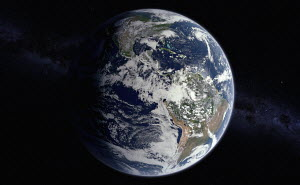 Digitally manipulated image of North and South America from space over the Equator