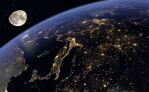 Digitally manipulated image of Europe at night from space