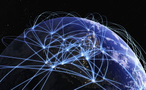 Global communications network over digitally manipulated image of North America from space
