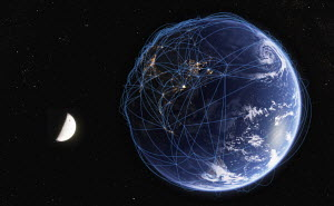 Global communications network over digitally manipulated image of India, China and Southeast Asia from space