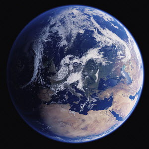 Earth from space showing Europe, the Mediterranean Sea, North Africa and the Middle East