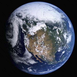 Earth from space showing the United States and Mexico