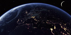 Europe, the Mediterranean Sea and North Africa at night from space