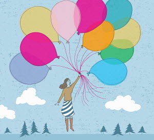 Floating woman holding bunch of multicolored balloons