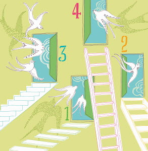 Open numbered doors with ladders, steps and stairs and flying birds
