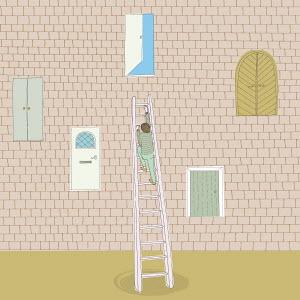 Man climbing ladder to open door high up in brick wall