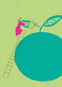 Woman on ladder watering large apple
