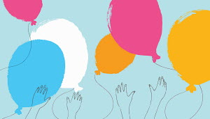 Hands reaching for multicolored balloons